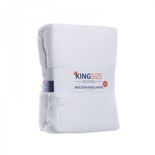 2-PACK Kingsize Molton Hoeslakens - Wit - 90 x 200
