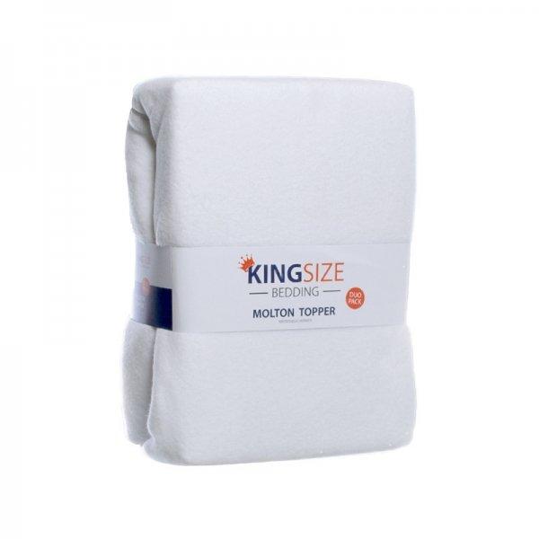 2-PACK Kingsize Molton Topper Hoeslakens - 180 x 200