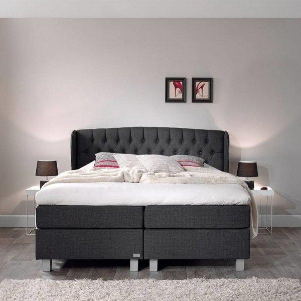 Boxspringset - Nice Comfort - Antraciet - 160 x 200