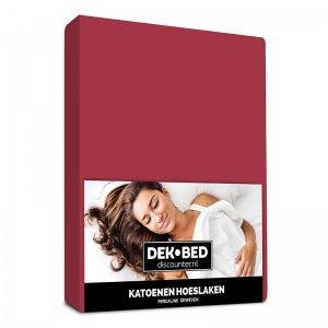 DD Katoenen Hoeslaken - Bordeaux - 90 x 200
