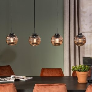 Design Hanglamp Smoke Glas - 4-lichts