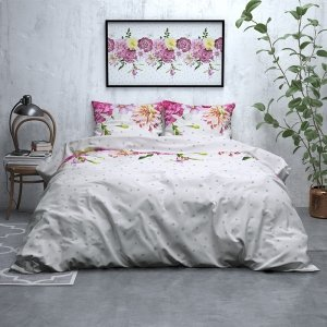 Dotted Floral - Verwarmend Flanel - Wit - 200 x 200