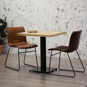Eetkamertafel Industry - Vierkant - Bruin - 80 x 80