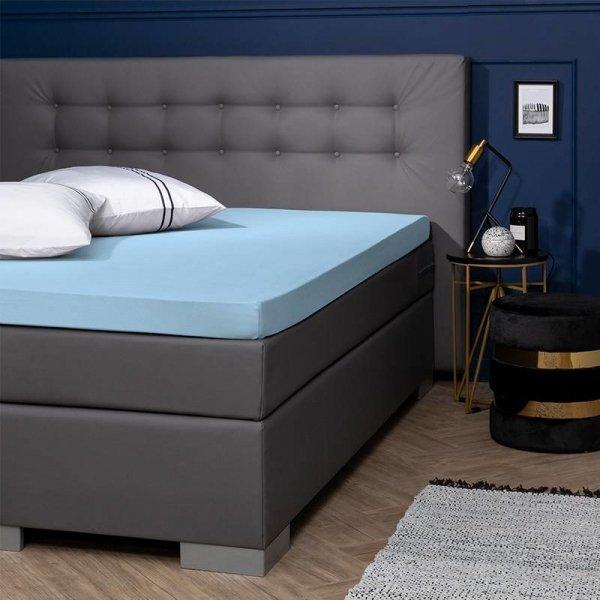 Egyptisch Katoenen Jersey Topper Hoeslaken - Blauw - 80 x 200