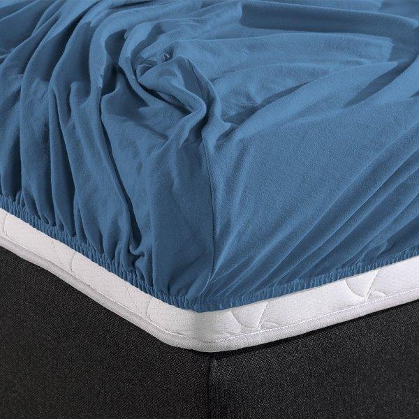 HC Dubbel Jersey Hoeslaken - Blauw - 180 x 200