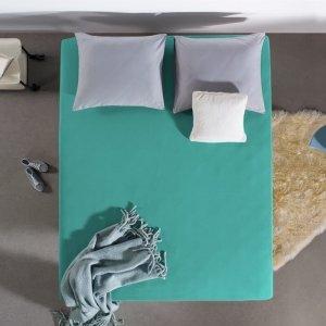HC Dubbel Jersey Hoeslaken - Turquoise - Blauw - 180 x 200