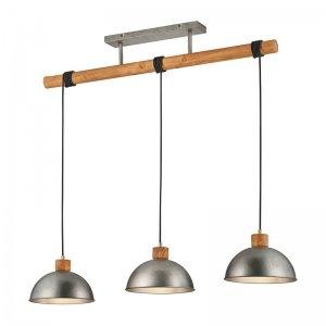 Hanglamp Delhi - Metaal - 3 Lichtbronnen - Nickel - Grijs