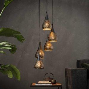 Hanglamp Luzzi - 5L - Bruin