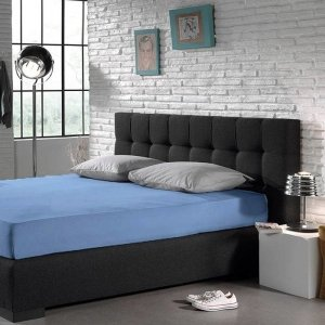 Hoeslaken - Blended Katoen - Blauw - 180 x 200