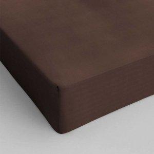 Hoeslaken Katoen - Bruin - 90 x 200