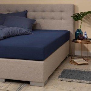 Jersey Hoeslaken - Silver - Navy - Blauw - 100 x 200