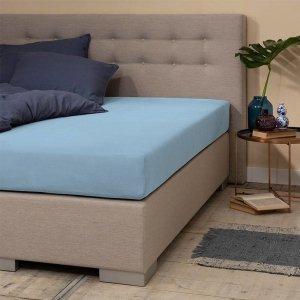 Jersey Hoeslaken - Silver - Zacht Blauw - 160 x 200
