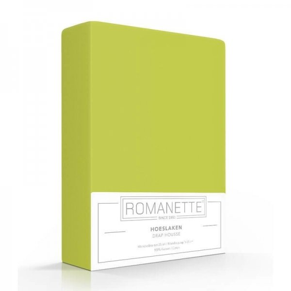 Luxe Hoeslaken Katoen - Appeltjes Groen - 140 x 200