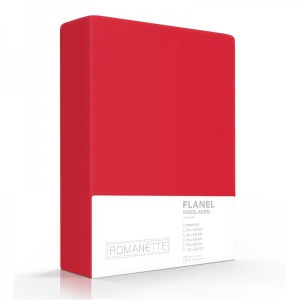 Luxe Hoeslaken Verwarmend Flanel - Rood - 160 x 220