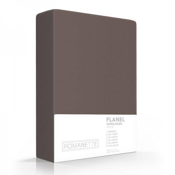 Luxe Hoeslaken Verwarmend Flanel - Taupe - Bruin - 160 x 220