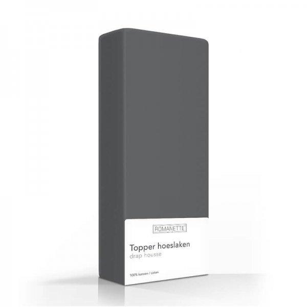 Luxe Katoenen Topper Hoeslaken - Antraciet - 90 x 220