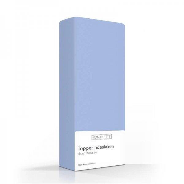 Luxe Katoenen Topper Hoeslaken - Blauw - 90 x 220