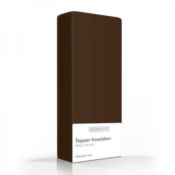 Luxe Katoenen Topper Hoeslaken - Bruin - Paars - 80 x 200