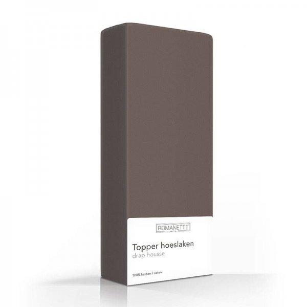 Luxe Katoenen Topper Hoeslaken - Taupe - 90 x 220