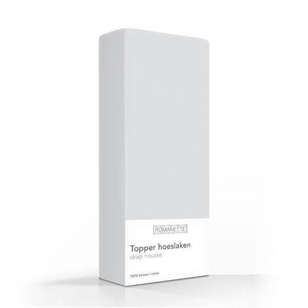 Luxe Katoenen Topper Hoeslaken - Zilver - Grijs - 160 x 220