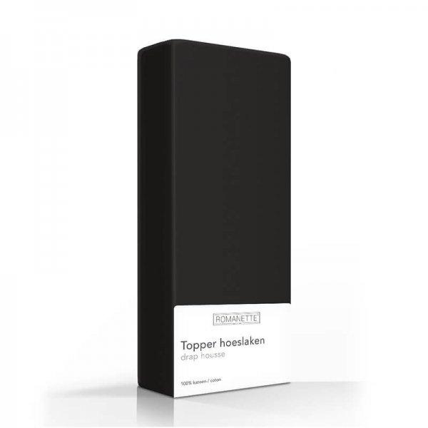 Luxe Katoenen Topper Hoeslaken - Zwart - 80 x 200