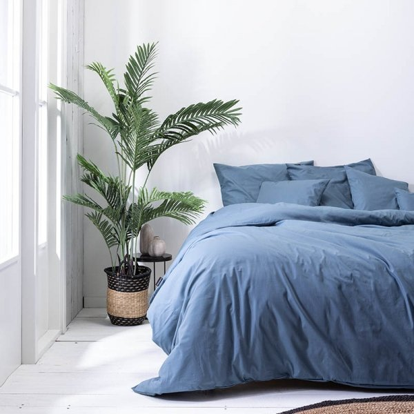 Plain Percale - Donker Blauw - 200 x 200