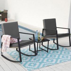 Set van 2 Schommelstoelen incl. Bijzettafel - Antraciet