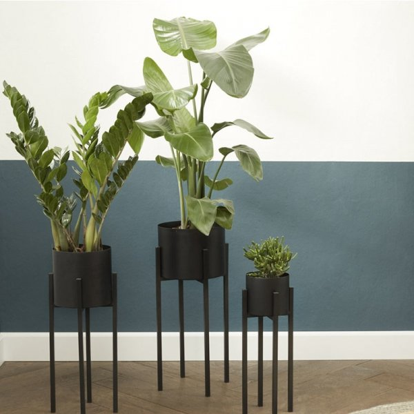 Set van 3 - Plantenbak Lotus - Zwart