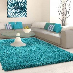 Vloerkleed Antalya Rechthoek - Turquoise - Blauw - 100 x 200