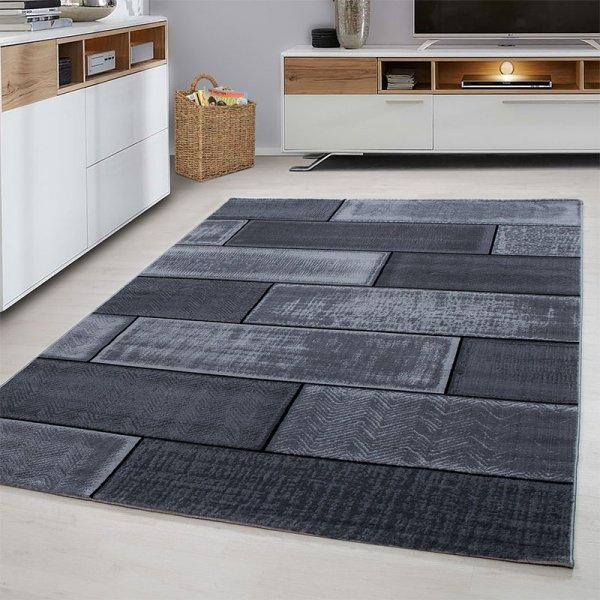 Vloerkleed Brick - Zwart - 80 x 300