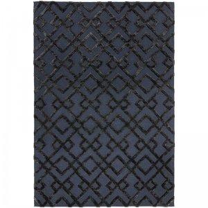 Vloerkleed Dixon - Black Trellis - Blauw - 160 x 230