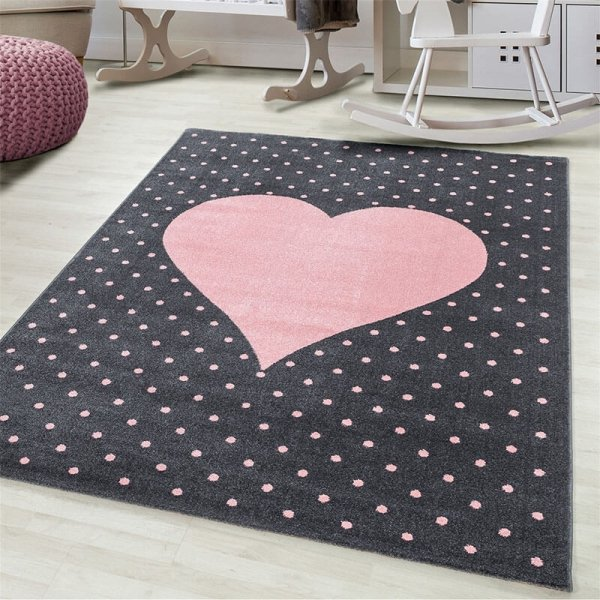 Vloerkleed Dots & Heart - Roze - 120 x 170
