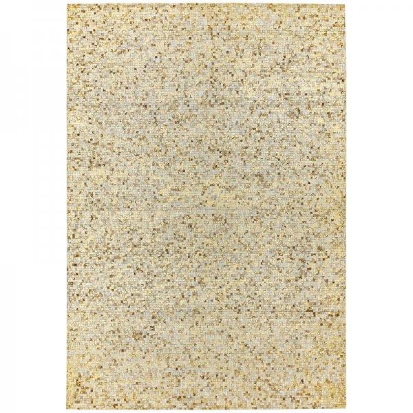 Vloerkleed Elona Mosaic Cowhide - Gold - 120 x 170