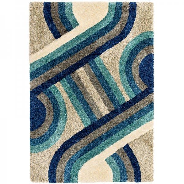 Vloerkleed Gala - Blue Retro - Blauw - 160 x 230