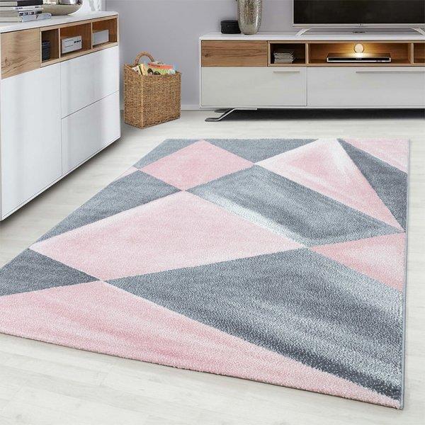 Vloerkleed Gloss - Roze - Grijs - 160 x 230