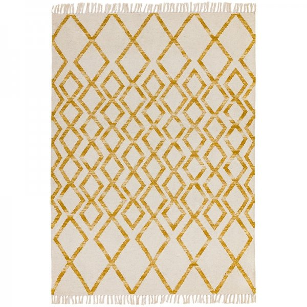 Vloerkleed Hackney Diamond - Yellow - Creme - 120 x 170