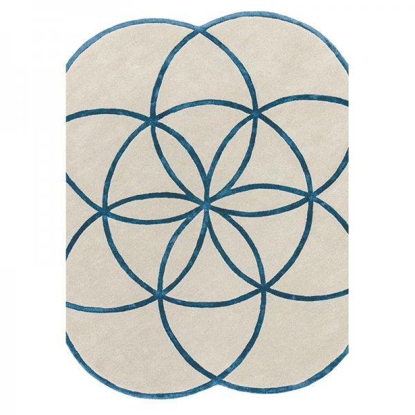 Vloerkleed Lotus - Blue - Blauw - 200 x 200