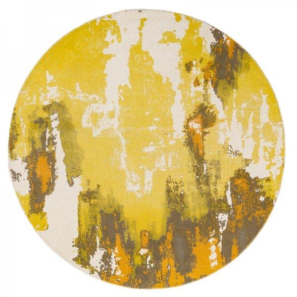 Vloerkleed Saturn - Yellow - Rond - Geel