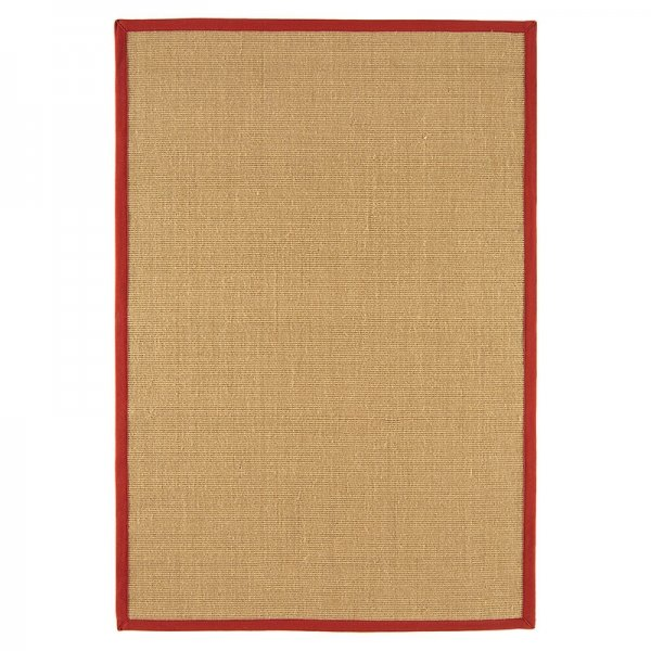 Vloerkleed Sisal - Linen/Red - Rood - 200 x 300