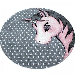 Vloerkleed Unicorn - Roze - Grijs - 120 x 120