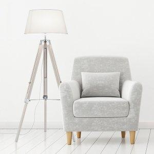 Vloerlamp Tripod - Hout - Wit