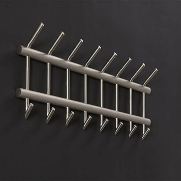 Kapstok Glendale- 2 x 8 Haaks - Breed - RVS - Zilver